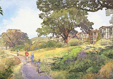 Located on site of the former Oak Knoll Naval Hospital, Oak Knoll will be a pedestrian friendly plan and designed oriented around the restored creek for a highly livable community.